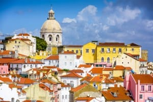 Lisbon, Portugal skyline at Alfama, the oldest district of the city with the National Pantheon.