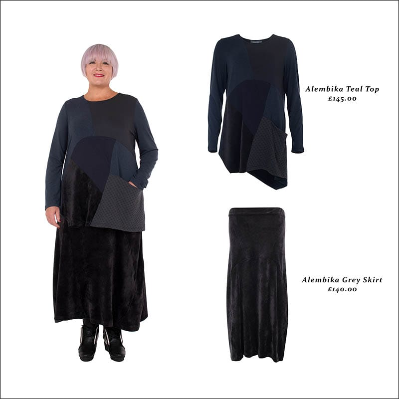 Alembika-women's-teal-top-grey-skirt-outfit-from-idaretobe