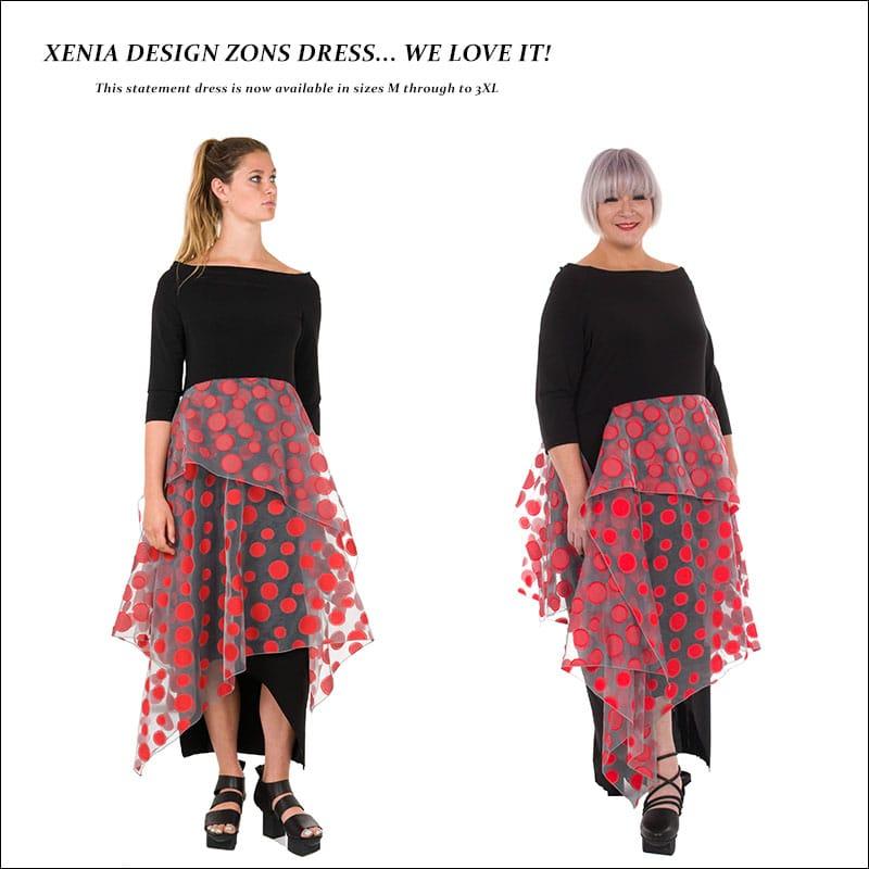 Xenia-Design-womens-Zons-statement-black-red-dress-AW16-from-idaretobe-authorised-UK-online-stockist
