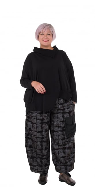 Lily White by Acconda Black Raw Check Trouser