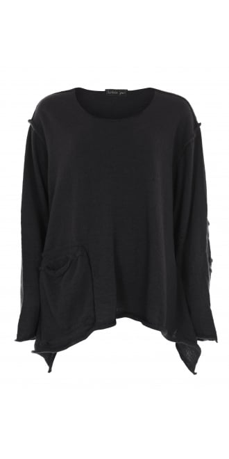 Barbara Speer Black Asymmetric Merino Pullover