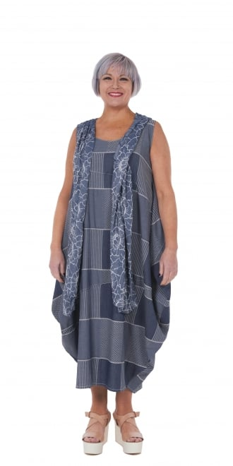 Yiannis Karitsiotis Denim Patchwork Balloon Dress