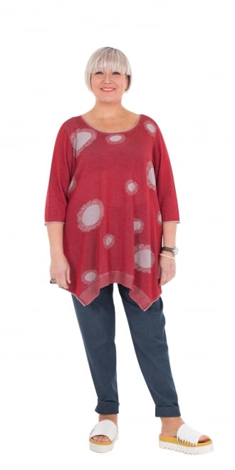 Tomo Red-Silver Cotton Orasia Pullover