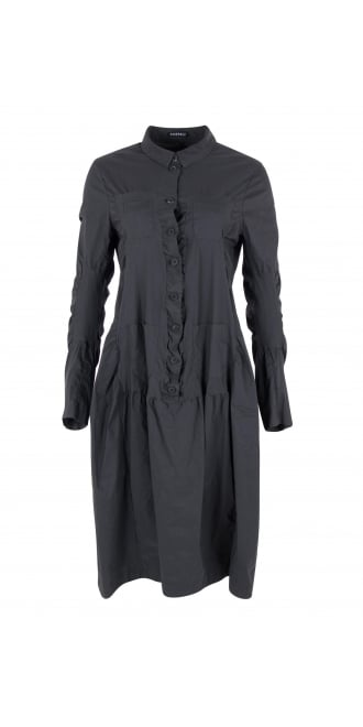 Rundholz Mainline Asphalt Grey Ruffle Stretch Dress