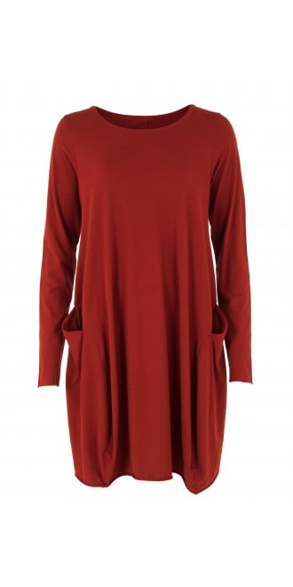 Rundholz Black Label Red Cotton Jersey Fitted Tunic