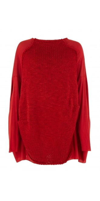 Rundholz Black Label Red Knit Panel Oversize Tunic
