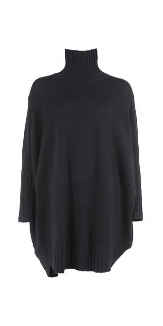 Rundholz Mainline Black Merino Wool Dress