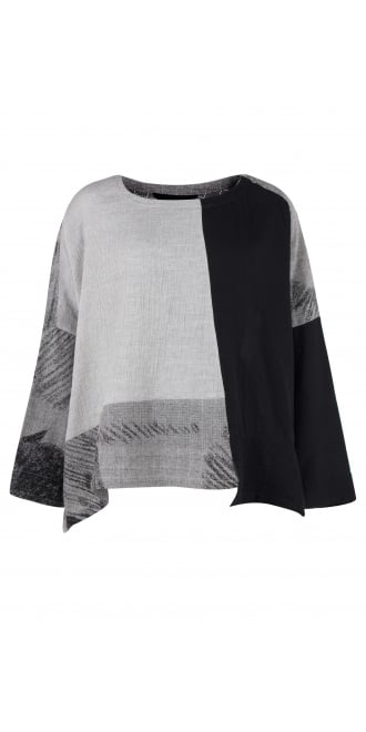 Moyuru Grey & Black Mix Top