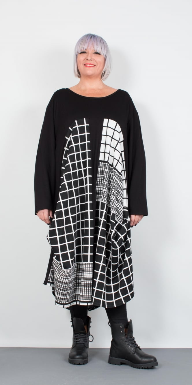 Idaretobe Monochrome Check Dress