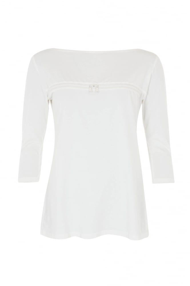 Barbara Speer Soft White Zip Front Top