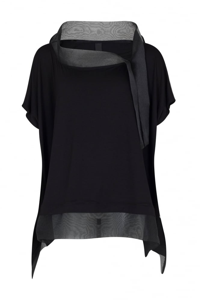 Igor Dobranic Black Oversized Top With Organza Detail