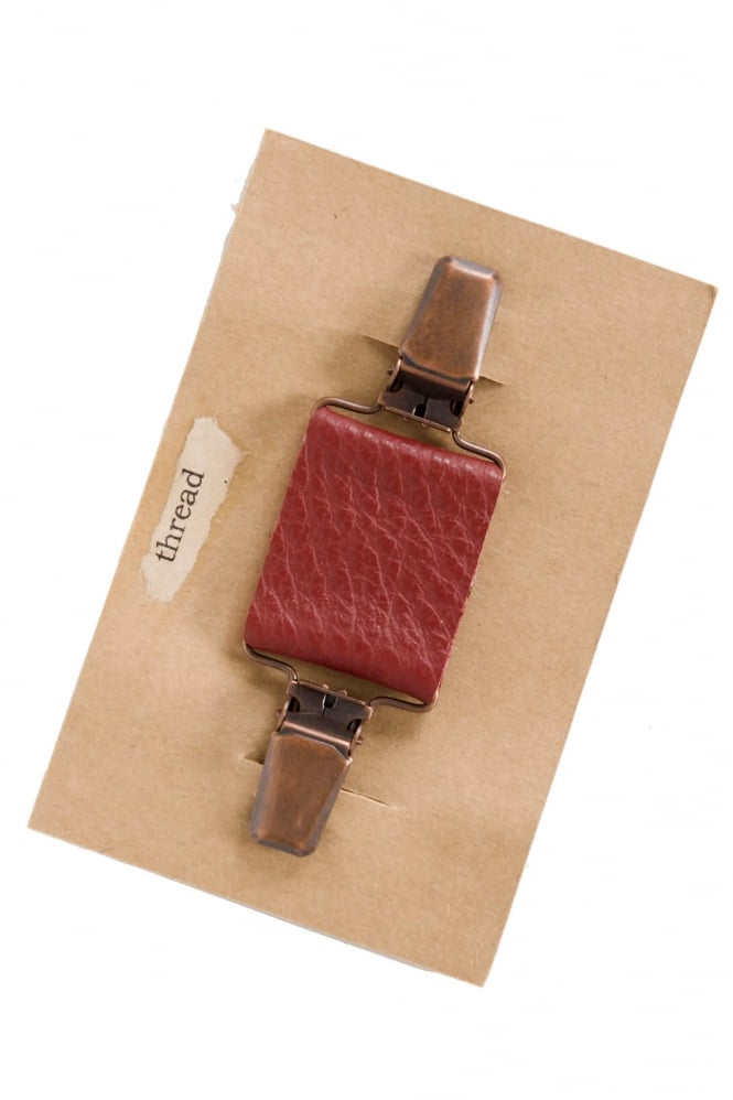 Thread Red Leather Clip