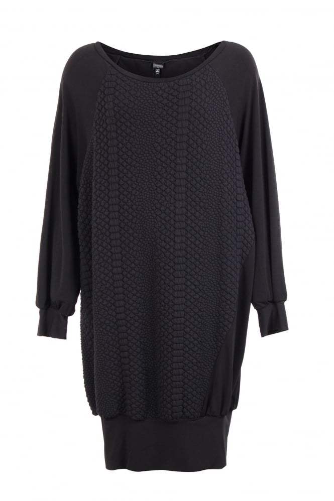 Link Black Textured Sabrine Dress