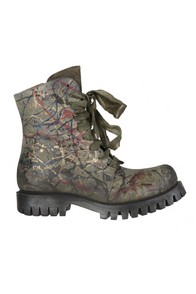 Papucei Bellum Green Hand-Painted Boots