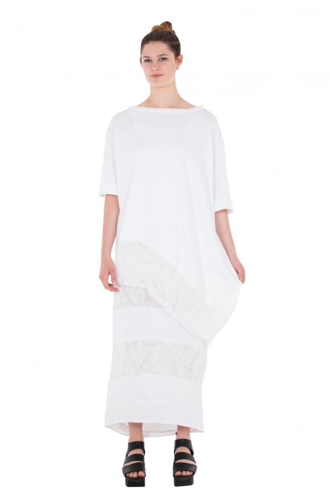 Nuovo Borgo White Jersey & Lace Accent Skirt
