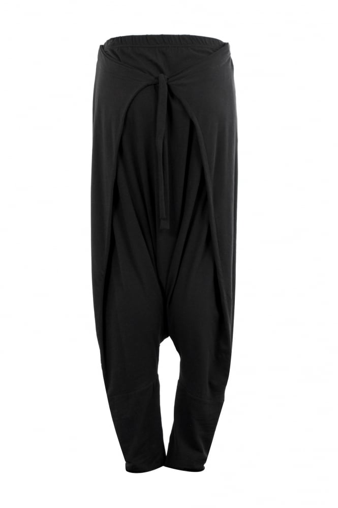 Barbara Speer Black Cotton Jersey Tie Trouser