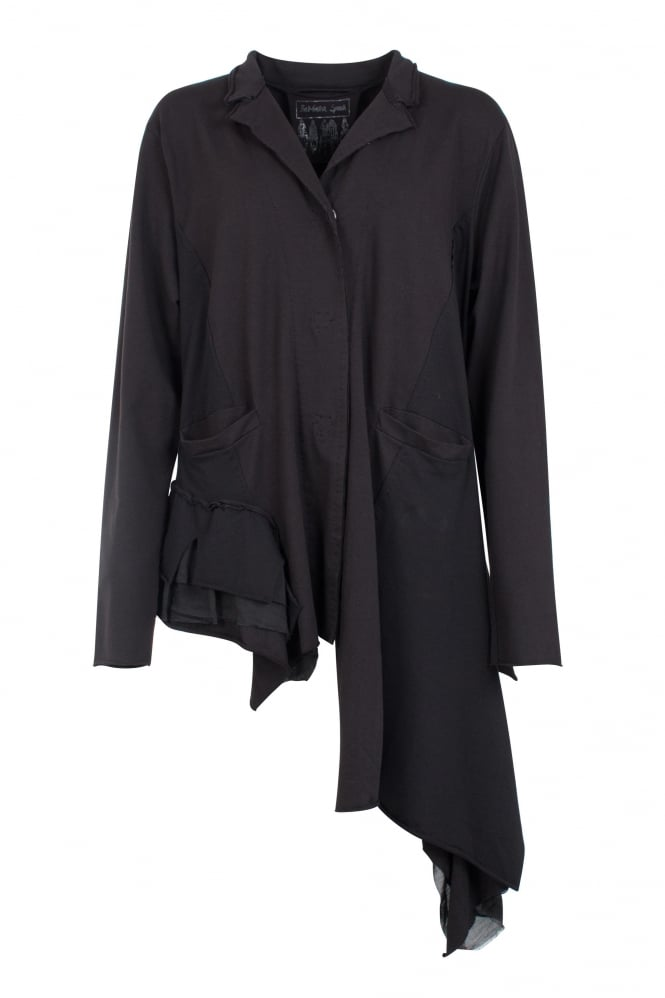 Barbara Speer Black Asymmetric Cotton Jersey Jacket