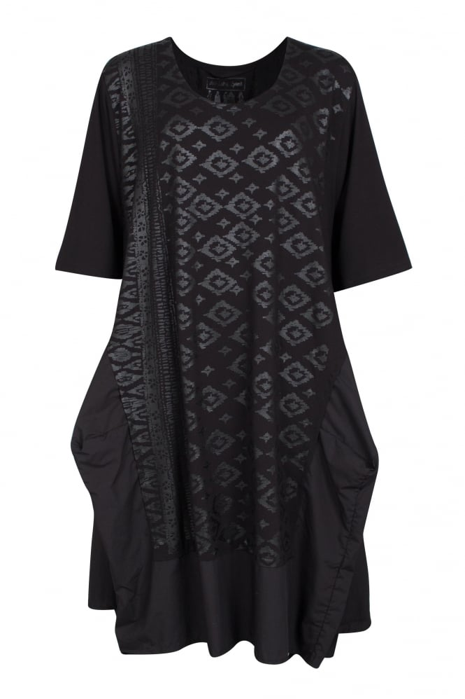 Barbara Speer Black Architectural Geometric Print Dress