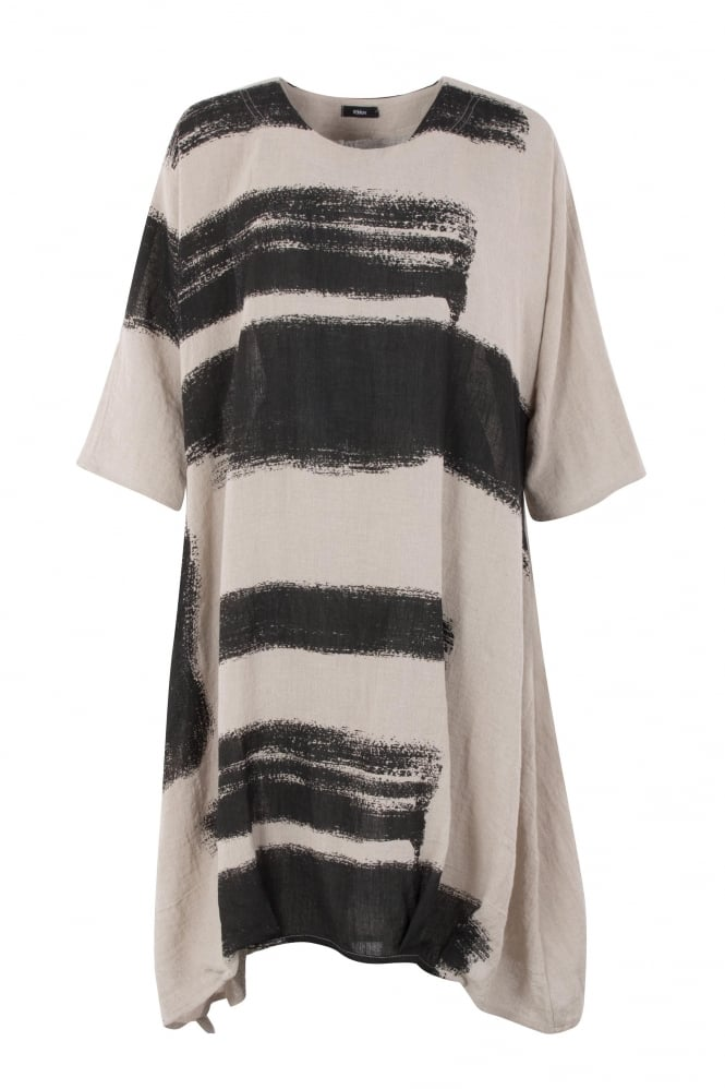 Ralston Natural-Black Siria Linen Dress