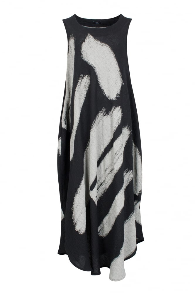 Ralston Black-Grey Linen Anju Dress