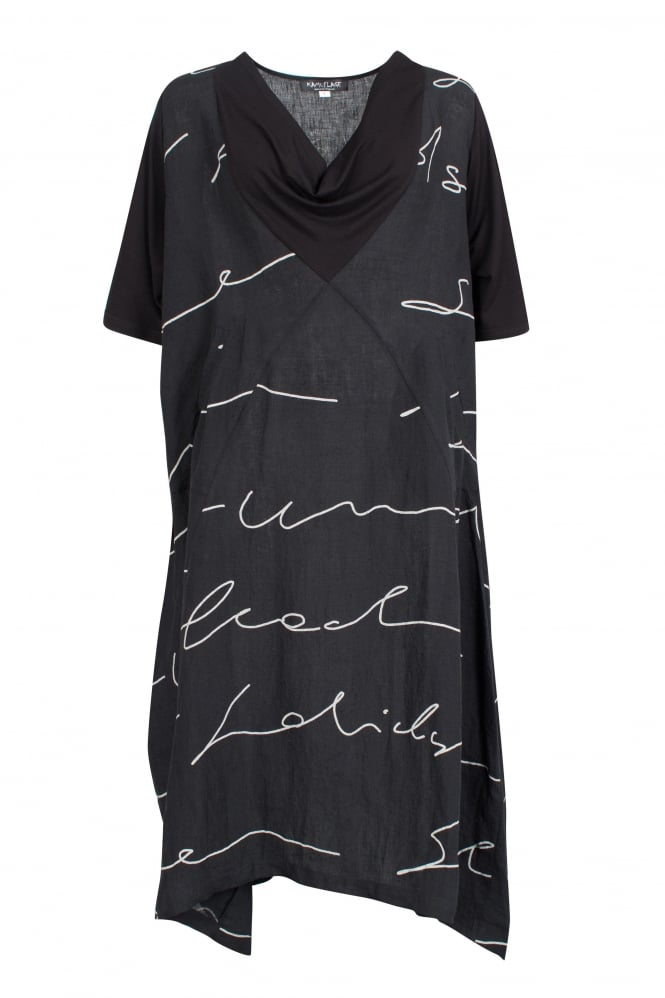 Kamuflage Black Abstract Print Linen Dress