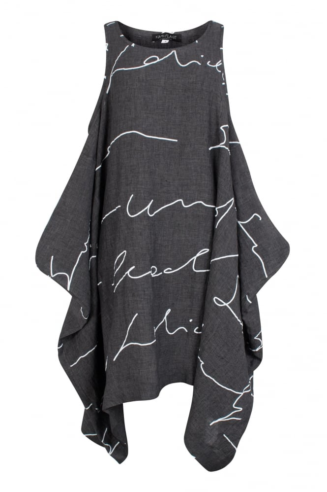 Kamuflage Anthracite Abstract Linen Tunic-Dress