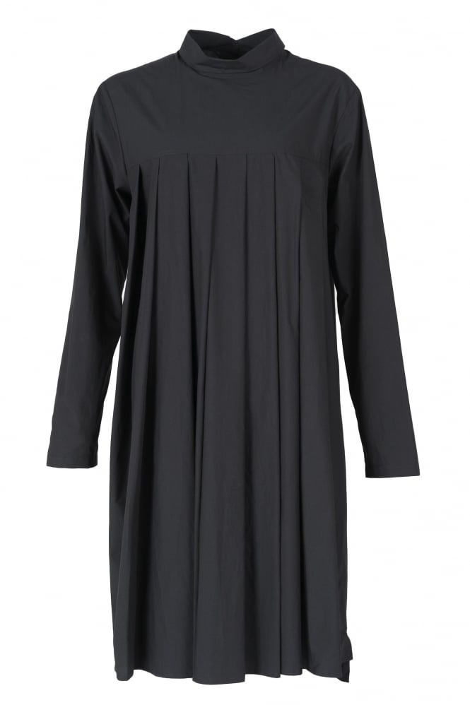 Rundholz Mainline Deep Black Cotton Pleat Dress