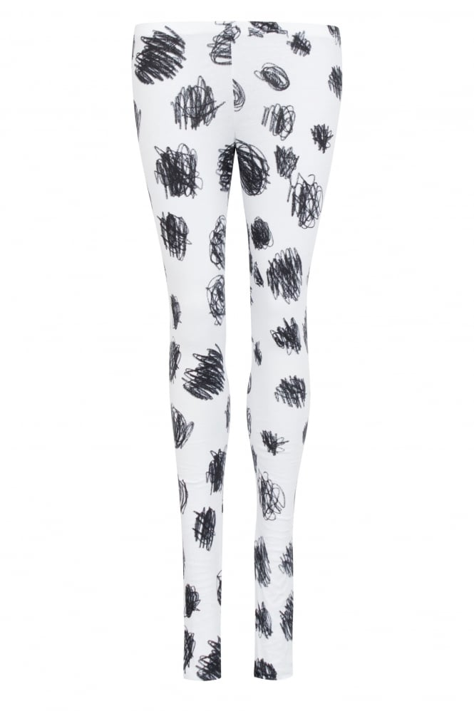 Rundholz Black Label White Cotton Black Scribble Print Leggings