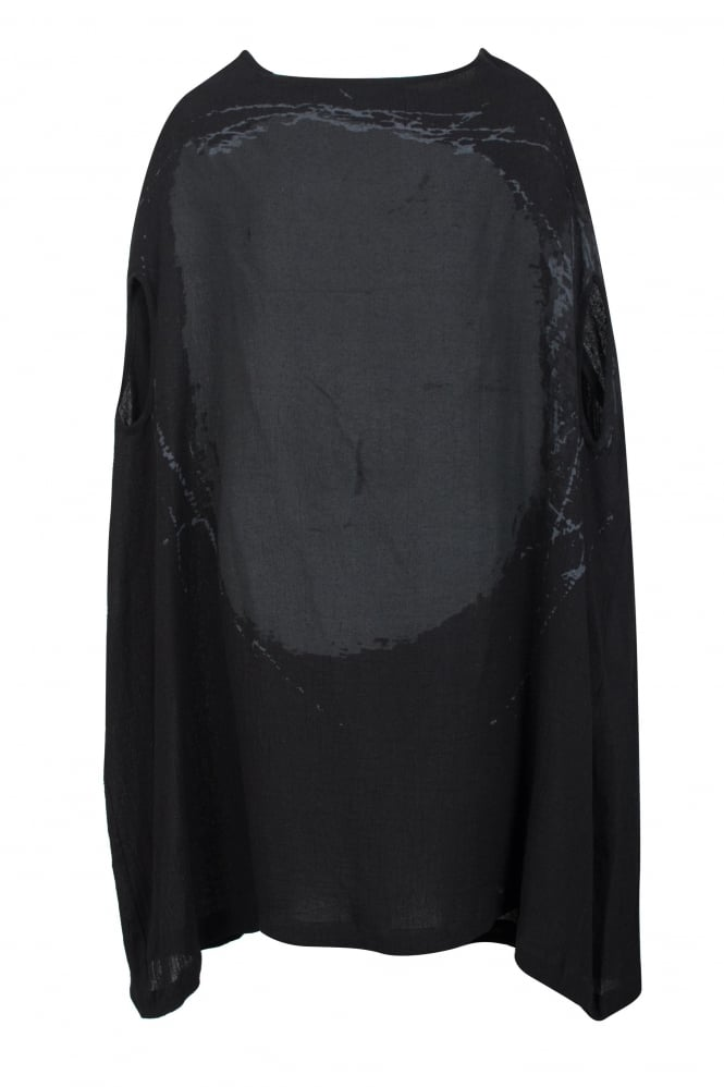 Moyuru Feature Print Black Linen Tunic