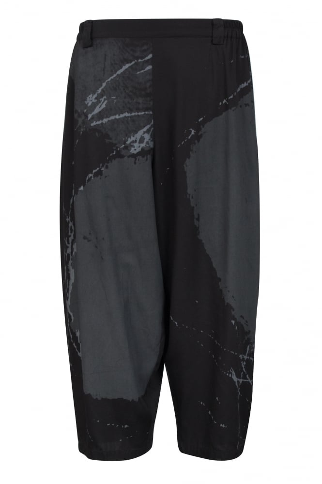 Moyuru Black-Grey Abstract Print Trouser