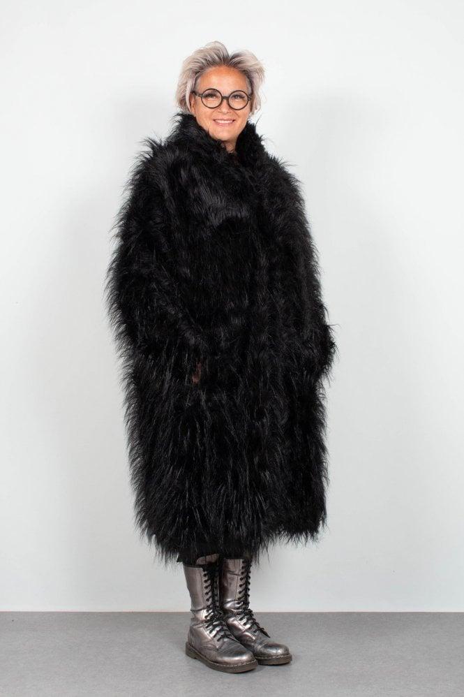 1f6e2ac60b2eff Rundholz Black Label Black Faux Fur Coat 3601201