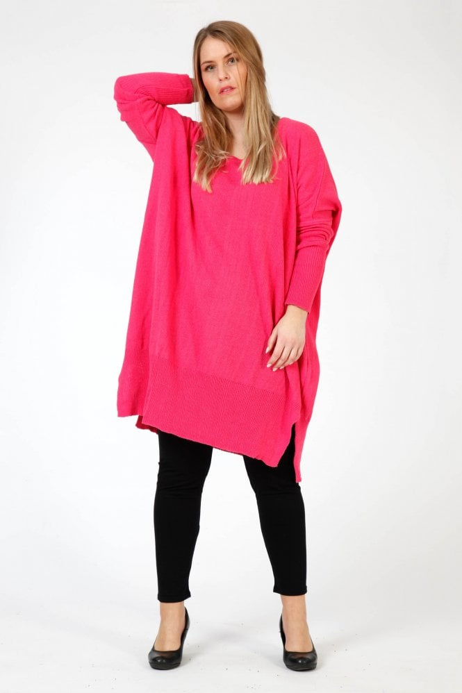 d2609ab2812 AKH Hot Pink Knitted Cotton Oversize Pullover