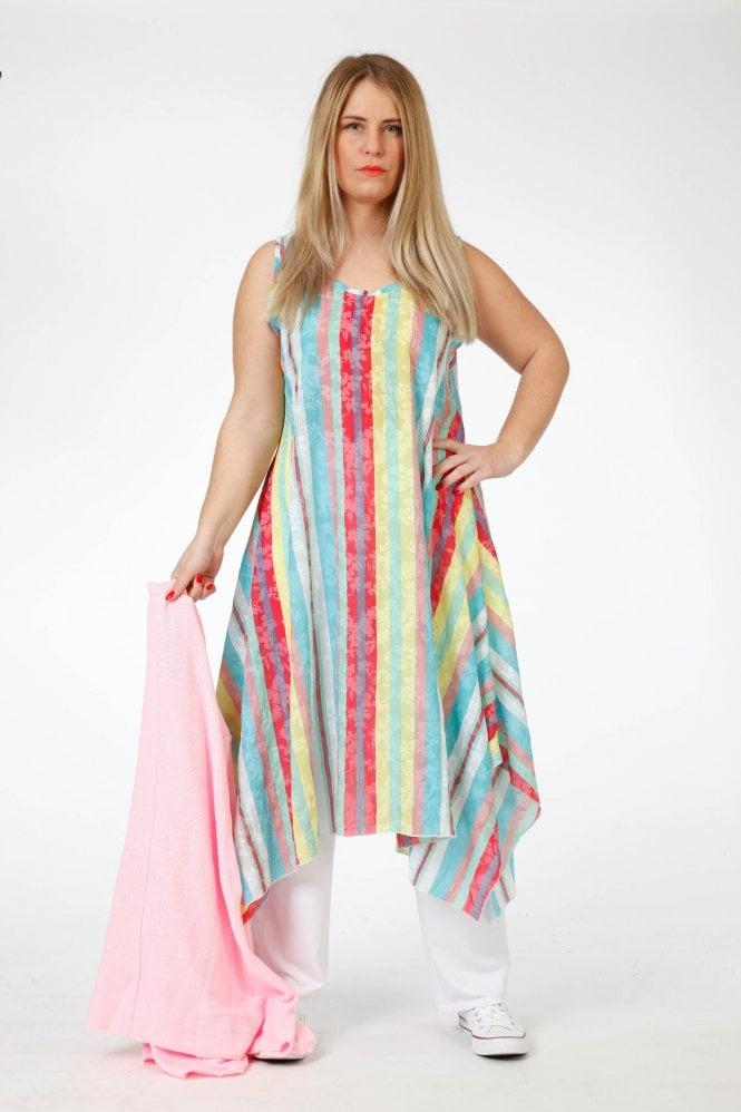 Akh Plus-Size Candy Stripe Chiffon Tunic-Dress