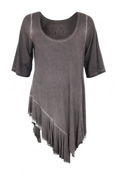 Taupe Old Look Jagged Hem Top