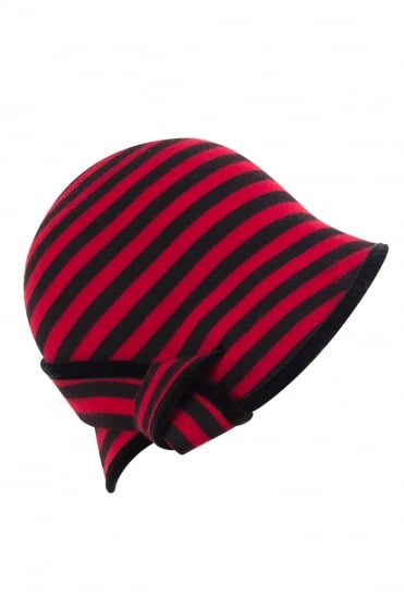 Stripe Wool Felt Gianna Hat