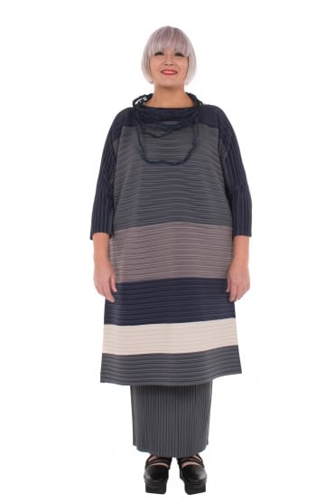 Blue Stripe Pleat Tunic