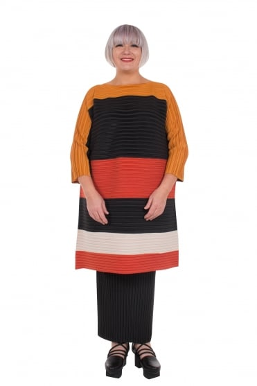 Rust Stripe Pleat Tunic