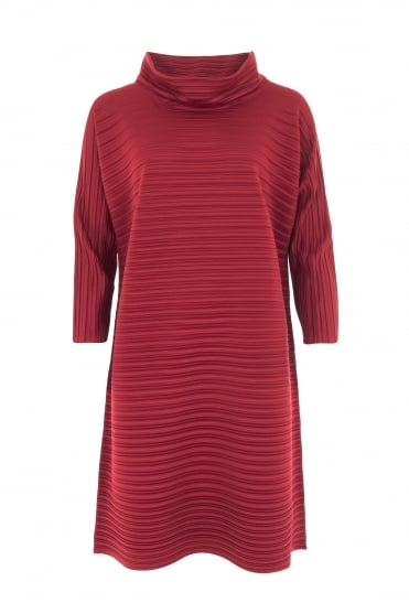 Winter Red Pleat Tunic