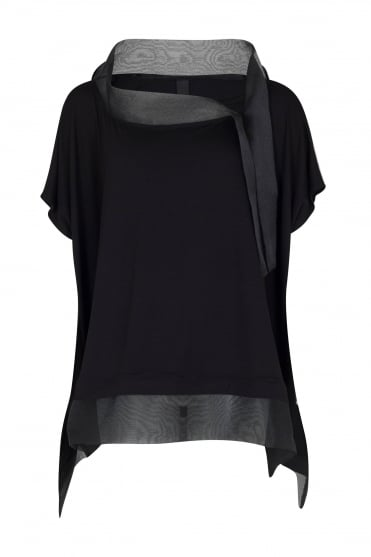 Black Oversized Top With Organza Detail