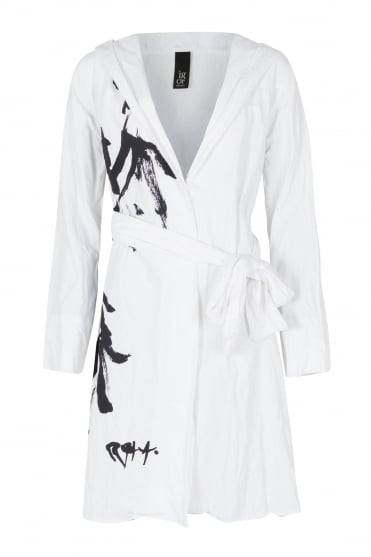 Orient Print White Long Jacket