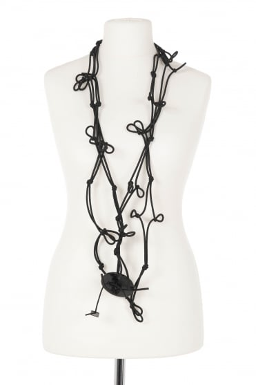 Note Black Knot Cord Necklace