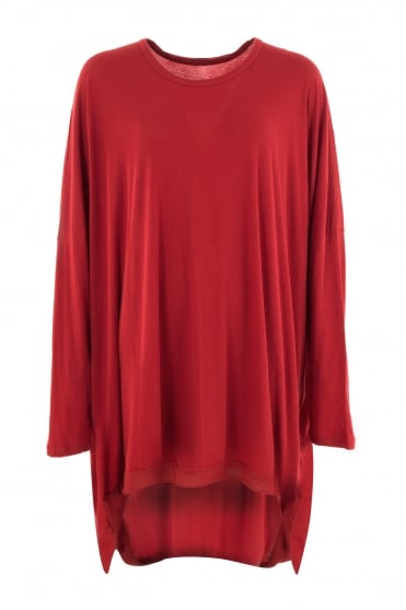 Red Cotton One-Size Dress