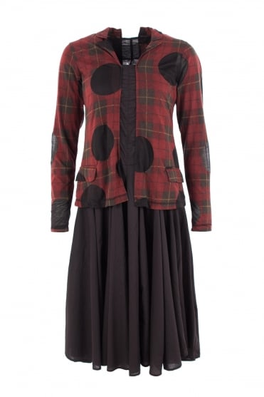 Fitted Red Check Burn-out Dress
