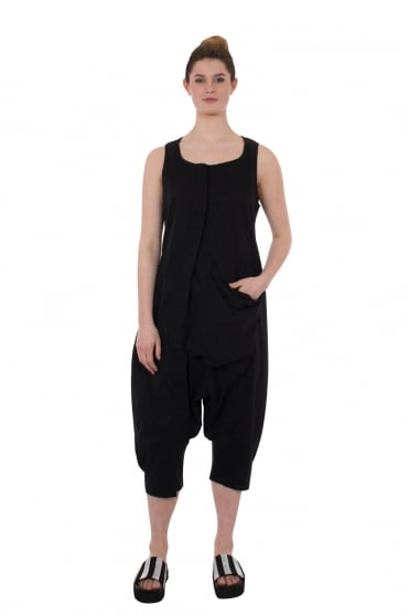 Black Cotton and Linen Overall