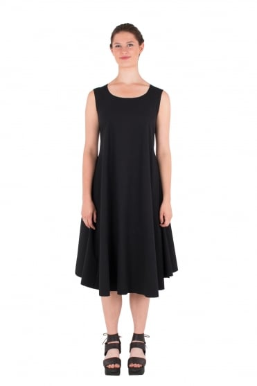 Deep Black Fitted Swing Dress