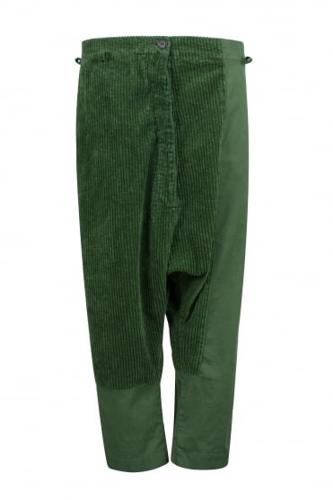 Pea Green Corduroy & Cotton Trouser