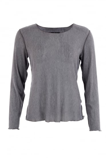 Grey Knitted Mesh Top