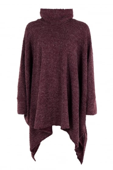 Bordeaux Oversized Wool Boucle Knit