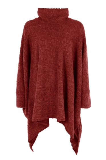 Red Oversized Wool Boucle Knit