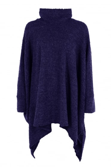 Indigo Oversized Wool Boucle Knit